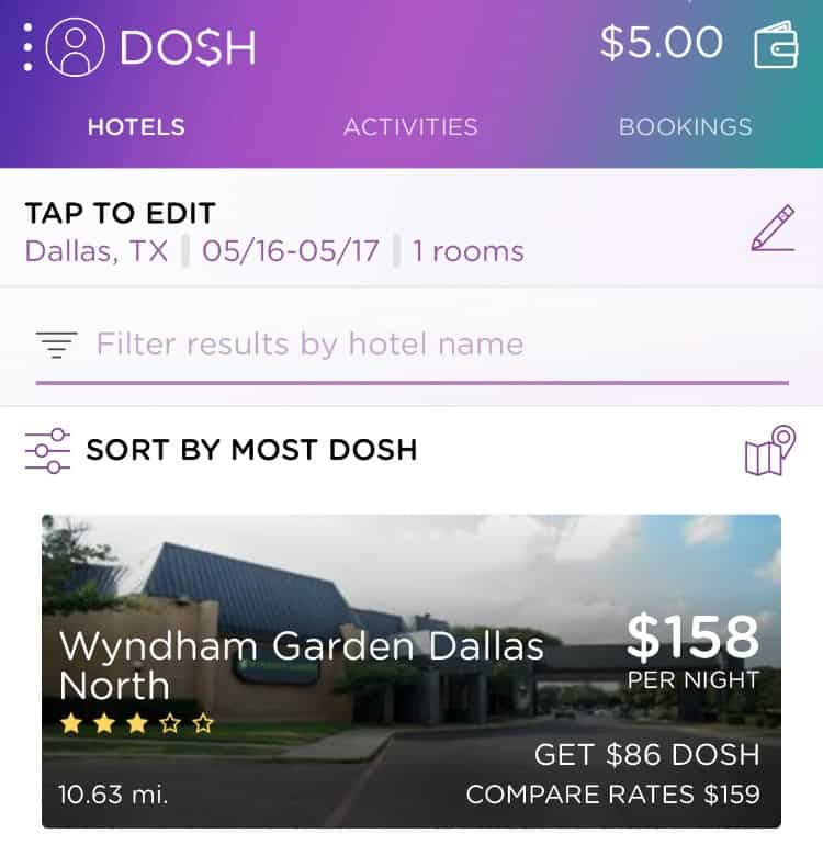 You can save a lot of money when traveling by using the DOSH app and booking hotels