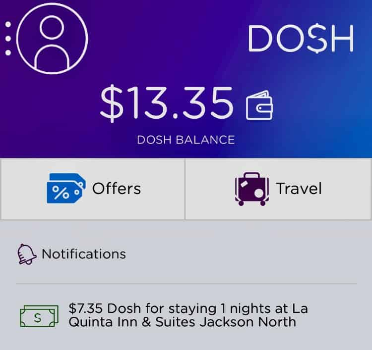 Earning cash back on hotels I've booked is easy with the DOSH app