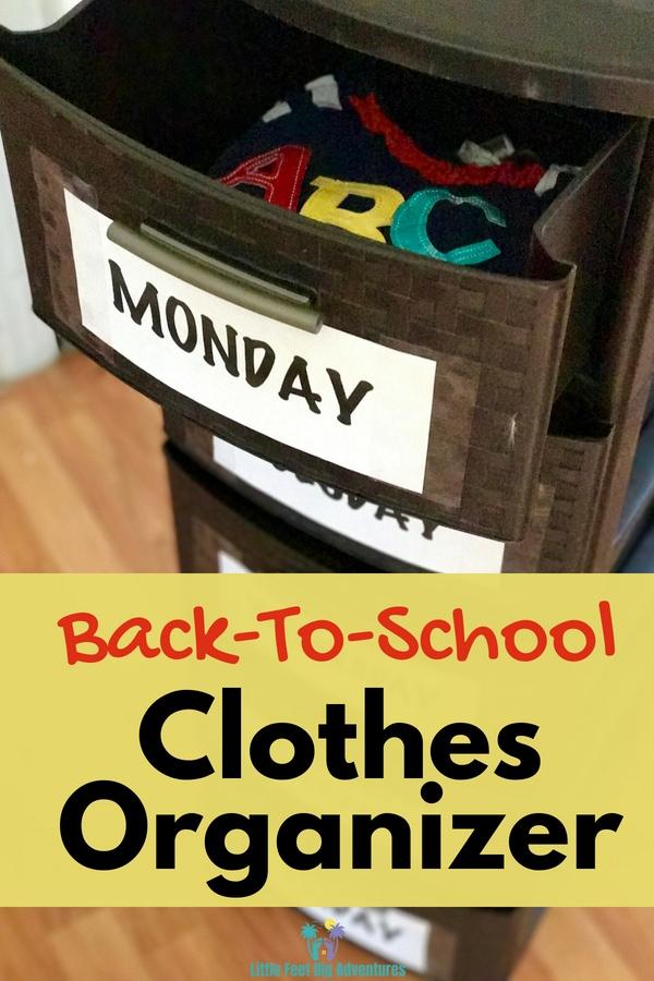 Easy DIY Back To School Weekly Clothes Organizer. #backtoschool #clothesorganizer #motherhood #DIY #diyproject