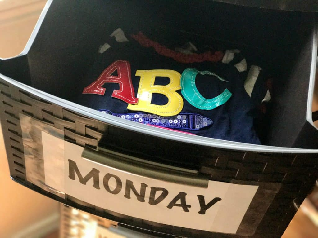 Use a plastic 5-drawer to create your very own back-to-school organize, days of the week clothing organizer.