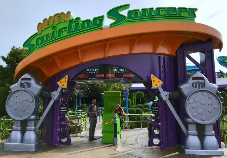 The alien saucers are fun for the whole family at Toy Story Land