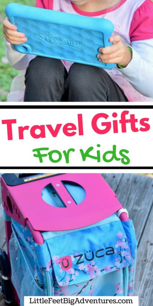 We love these gift ideas for kids. These are must-have travel items you will want if you travel with your kids. #travel #gifts #giftguide #familytravel