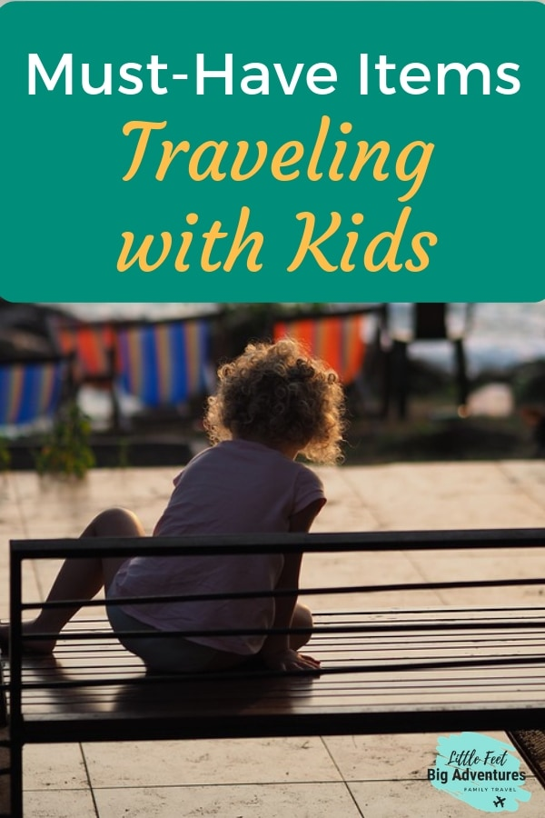 Must have items when traveling with kids. Traveling with kids tips. #familytravel #travelingwithkids #traveltips #traveltech #travelpacking