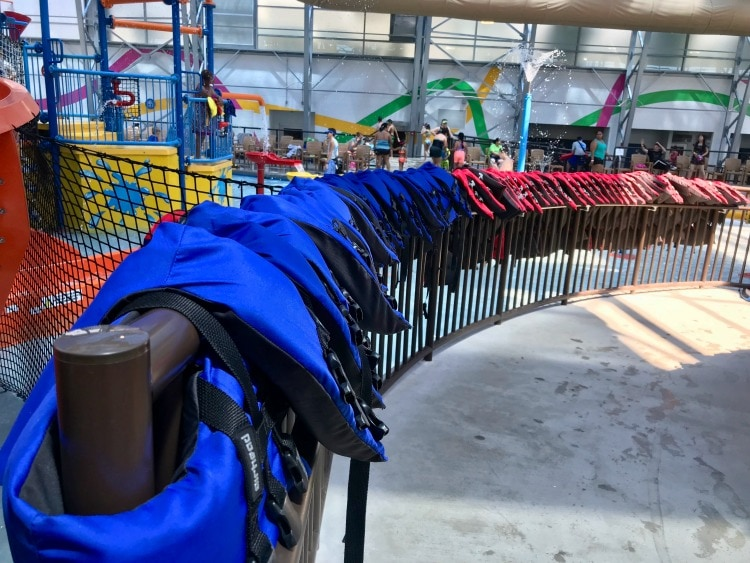 Plenty of lifejackets to make you feel safe on your visit to Epic Waters