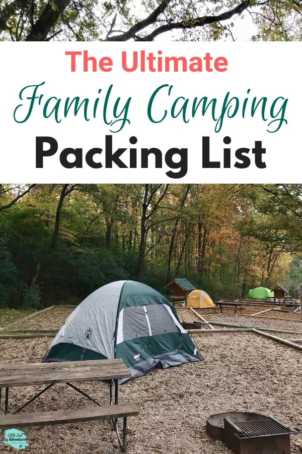 Camping Packing List for a family with kids or without kids. Our list included everything you'll need for clothes, cooking food or taking along your dog. Whether your going for a weekend or longer, this basic checklist will be handy to have. #printable #camping #packinglist #packing #campinglist