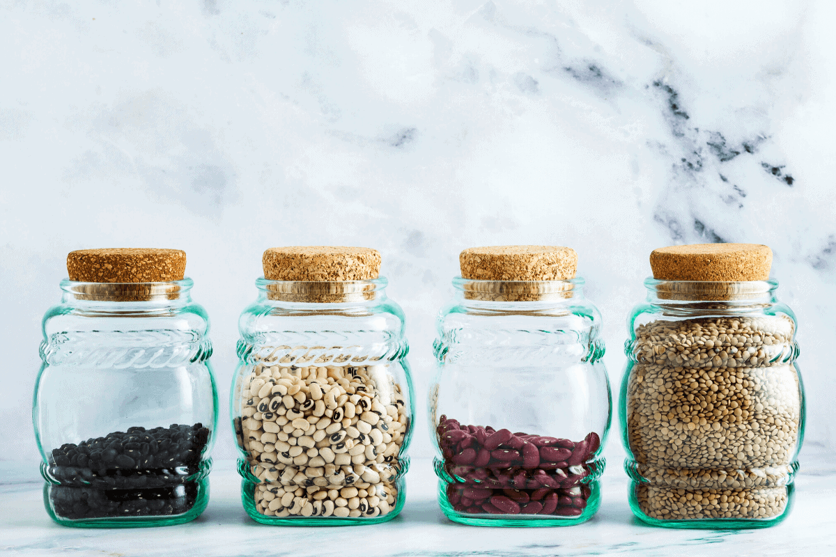 grains in a jar from the pantry staples list